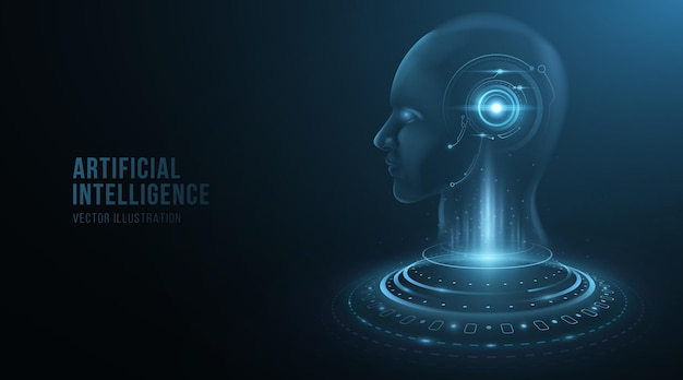 Digital holographic face of a cyborg man with hud elements on head. artificial intelligence concept. modern technology background. futuristic humanoid. vector illustration