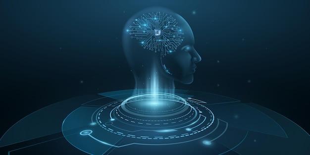 人工知能の脳を持つサイボーグの男のデジタルホログラフィック顔。未来のヒューマノイドはビッグデータを分析します。技術の背景。神経網。ベクター