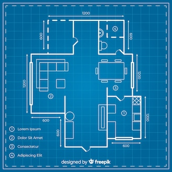 Digital house design with blueprint