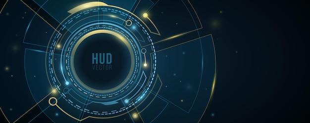 조명 효과가 있는 디지털 hud gui ui. 미래 지향적인 공상 과학 사용자 인터페이스. 가상 현대 그래픽. 기술 배경 디자인입니다. 대시보드 표시. 벡터 일러스트 레이 션. eps 10