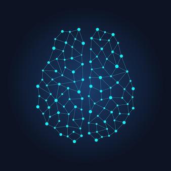 노드 및 연결에서 디지털 인간 두뇌. 미래의 신경망. 어두운 배경에 벡터 기하학적 그림