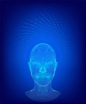 デジタル人間の顔イラスト