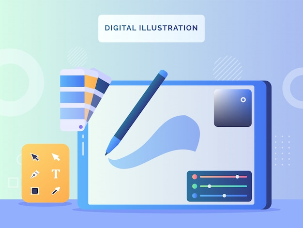 Digital illustration concept screen view apps illustrator tool with flat style.
