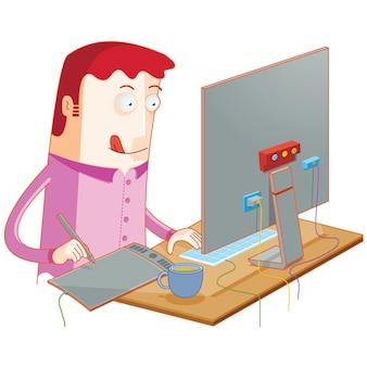 Digital illustrator in action