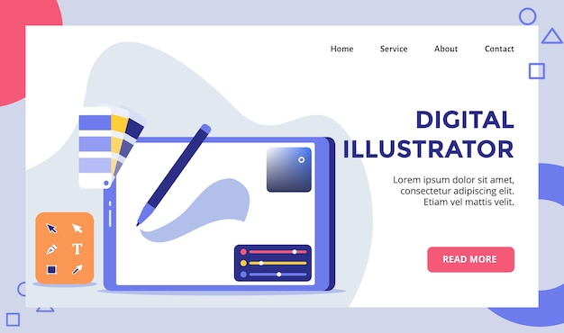 Digital illustrator pencil on path of drawing tool campaign  landing page template