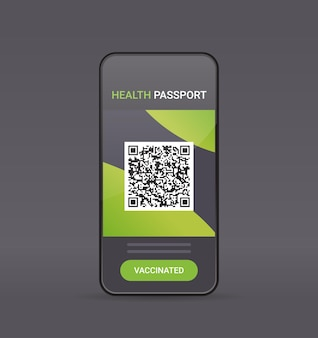 スマートフォンの画面にqrコードが付いたデジタル免疫パスポートリスクフリーcovid-19パンデミックワクチン接種証明書コロナウイルス免疫概念ベクトル図