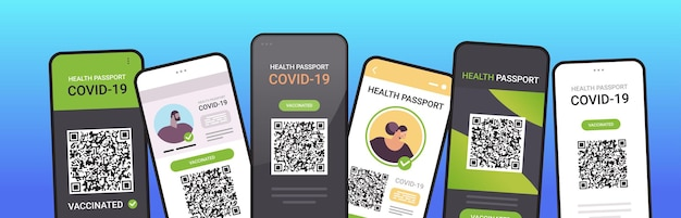 Digital immunity passports with qr code on smartphone screens risk free covid-19 pandemic vaccinate certificate