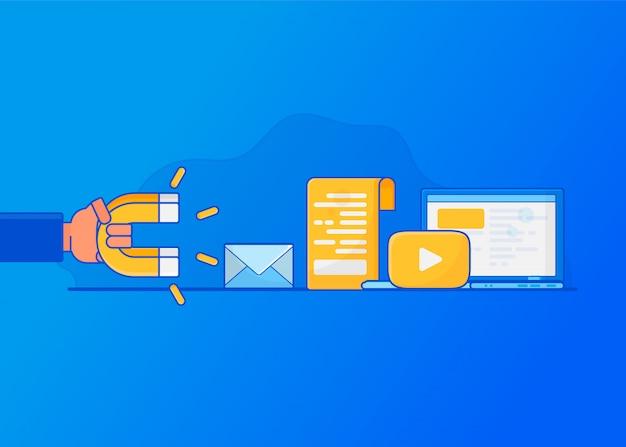 Digital inbound marketing,  attracting online customers.