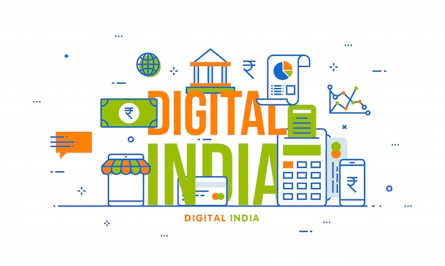 Digital india concept with financial elements