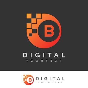 디지털 초기 문자 b 로고 디자인