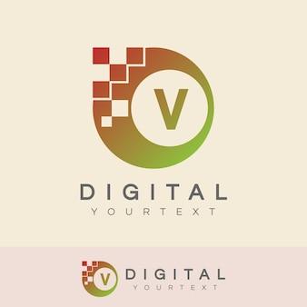 디지털 초기 letter v 로고 디자인