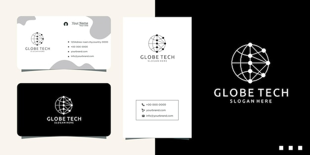 디지털 인터넷 네트워크 로고 디자인 및 명함