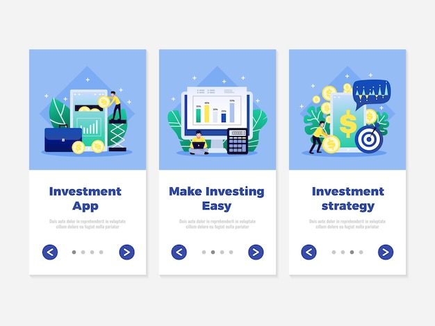 Digital investment banners with clickable page switch buttons illustration