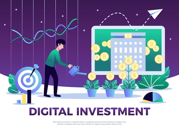 Composizione di investimento digitale con testo e illustrazione concettuale