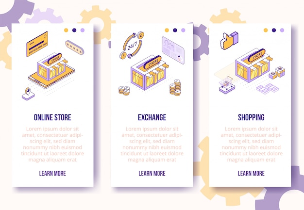 Digital isometric design concept-online store, exchange, shopping mobile app screen vertical banners template