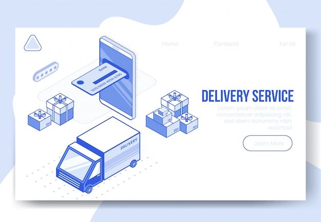 Digital isometric design concept set of delivery service