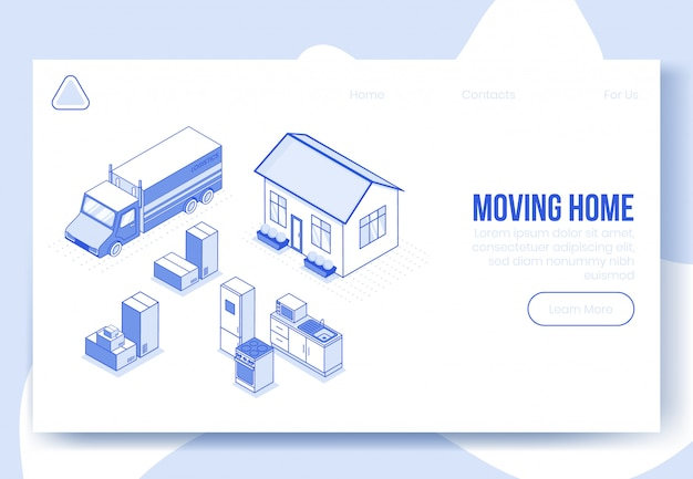 Digital isometric design concept set of logistics solution