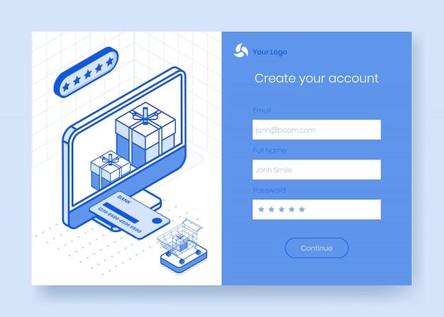 オンラインストア配信アプリ3 dアイコンのデジタル等尺性デザインコンセプトセット