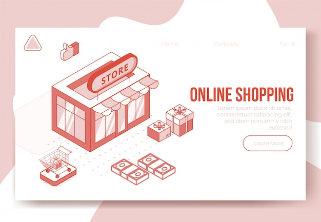 Digital isometric design concept set of online shopping app 3d icons.