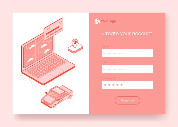 Digital isometric design concept set of online taxi booking
