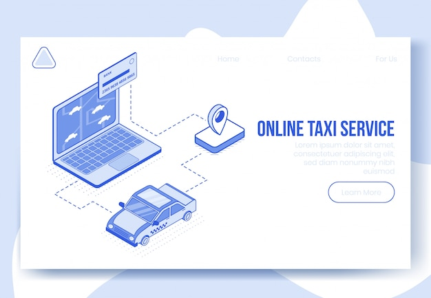 Digital isometric design concept set of online taxi
