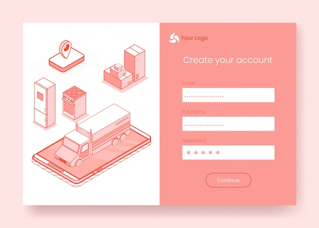 Digital isometric design concept set of transportation service
