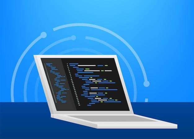 デジタルjavaコードテキスト。コンピュータソフトウェアコーディングベクトルの概念。プログラミングコーディングスクリプトjava、画面図のデジタルプログラムコード。ベクトルストックイラスト。