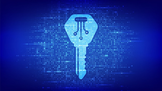 Digital key. electronic key icon made with binary code. cyber security and access background. digital binary data and streaming digital code. matrix background with digits 1.0. vector illustration.
