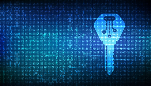 Digital key. electronic key icon made with binary code. cyber security and access background.