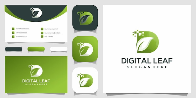Digital leaf logo design template. business card design