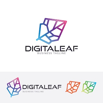 Digital leaf vector logo template