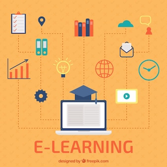 Digital learning background with colorful items in flat design