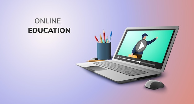 Digital learning with video online for education concept and blank space on laptop