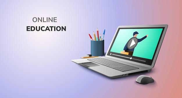 교육 개념 및 노트북에 빈 공간에 대한 비디오 온라인 디지털 학습