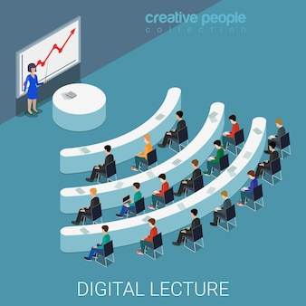 デジタル講義ウェブ会議フラットアイソメトリック