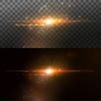 デジタルレンズフレアエフェクト。光の効果。デザインのvfx要素。輝く透明な光バースト爆発。図