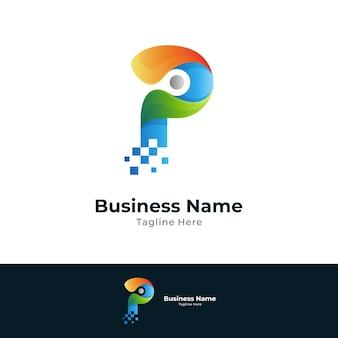 Digital letter p logo template