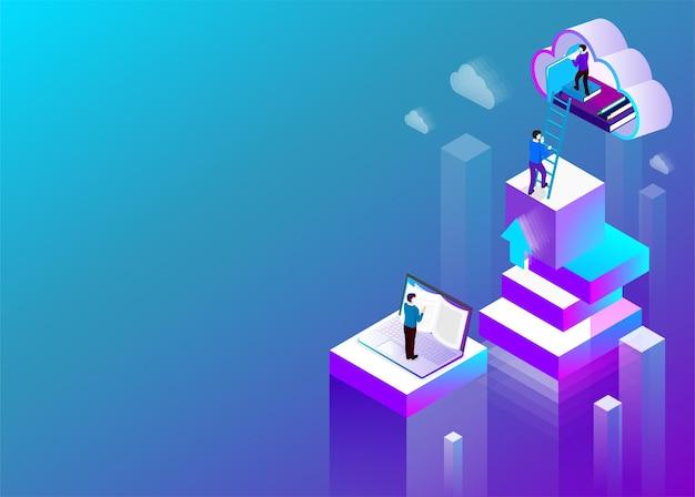 Цифровая библиотека фон ноутбук и облачное хранилище изометрическая иллюстрация синего спектра целевая страница или шаблон презентации
