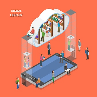 Digital library flat isometric concept.