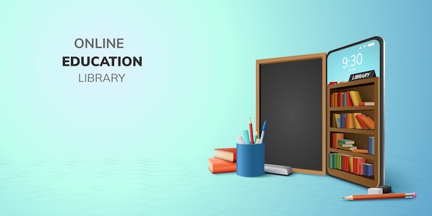 Digital library online education internet and blank space on phone, mobile website background. social distance concept. decor by book lecture pencil eraser blackboard mobile. 3d   illustration