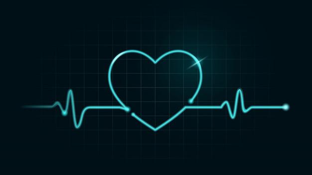 심전도 모니터의 녹색 차트에있는 디지털 선은 움직임이 심장 모양이됩니다. 맥박수 및 건강 개념에 대한 그림.