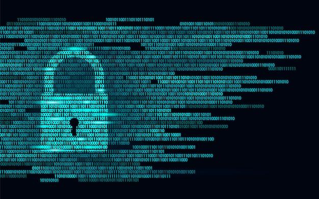Digital lock guard sign binary code number, big data