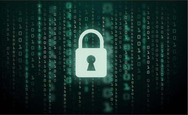 Digital lock guard sign binary code number cyber data