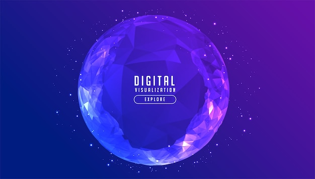Digital low poly circular sphere technology concept background