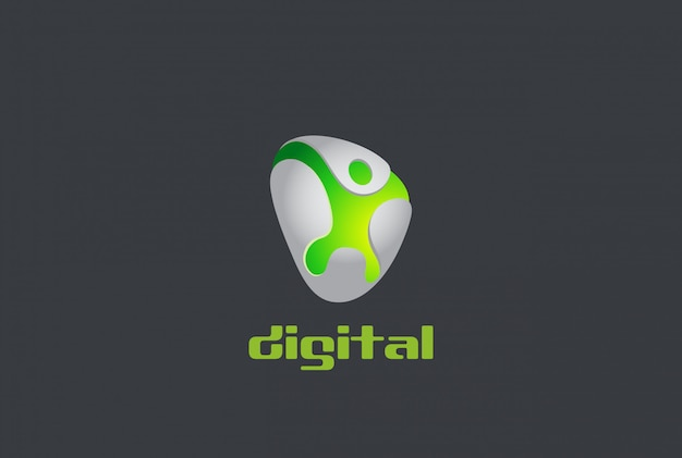 Digital man game logo emblem character abstract design template. creative badge label dynamic sport internet gaming media logotype concept icon