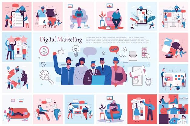 デジタルマーキングのコンセプト。チームの仕事、ビジネス、スタートアップの概念のベクトルイラスト