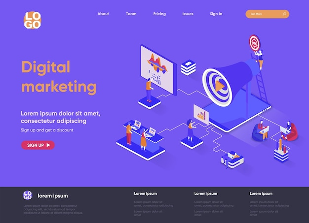 Digital marketing 3d isometric landing page website   illustration with people characters