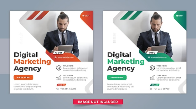 デジタルマーケティングエージェンシーと企業のソーシャルメディアのfacebookの投稿とwebバナーのテンプレートデザイン