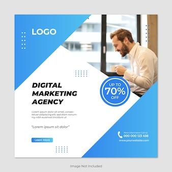 デジタルマーケティングエージェンシーと企業のソーシャルメディアの投稿テンプレートのグラデーションカラー