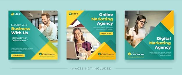 Баннер агентства цифрового маркетинга для шаблона сообщения в социальных сетях